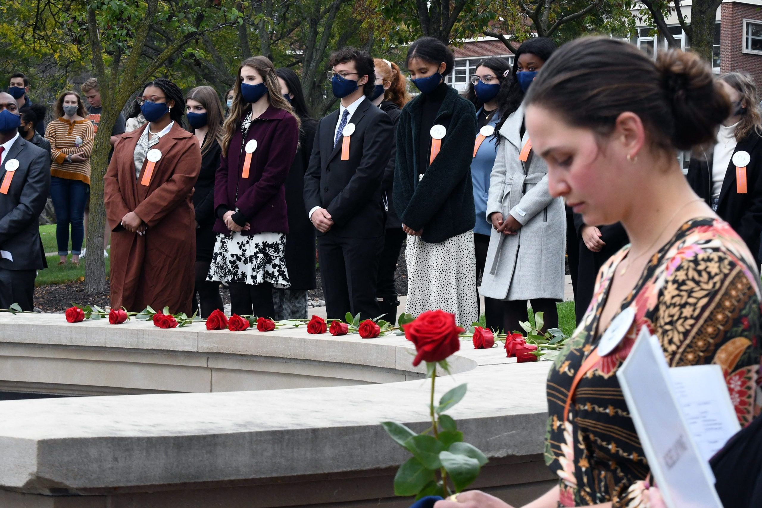 Syracuse University community members gathered to honor the loss of 35 SU students in the crash of the Pan Am Flight 103 33 years ago. The Rose-Laying Ceremony took place at 2:03 pm on Friday October 22 and consisted of Remembrance Scholars presenting red roses in honor of the lives lost on December 21, 1988. (Photo by Cali Delisle)