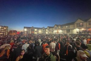 Students gather at Castle Court after SU men's basketball wins against WVU, putting them in the Sweet Sixteen on March 21, 2021
