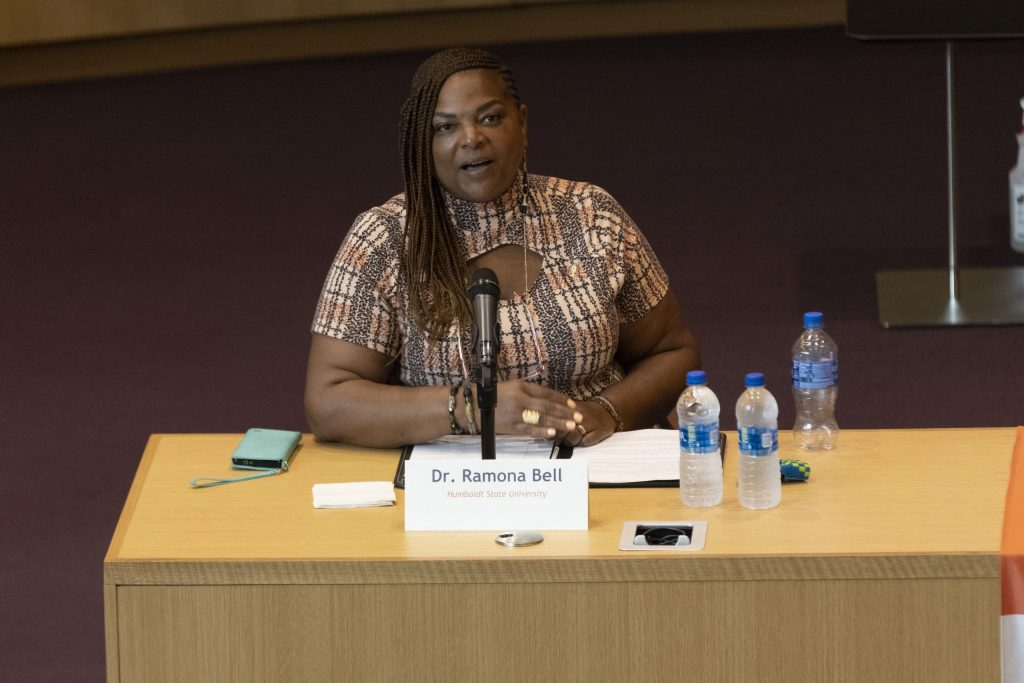 Ramona Bell speaks during the Title IX panel