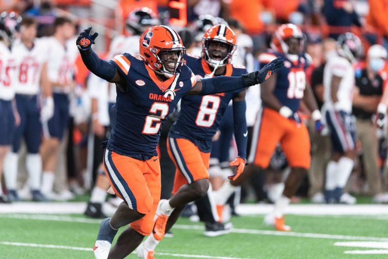 Football Game Syracuse University vs Liberty, September 24, 2021. Marlowe Wax celebrating a sack.