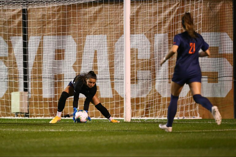 Goalie Lysianne Proulx stops a shot on goal in Syracuse's 2-0 loss to UNC Thursday night.