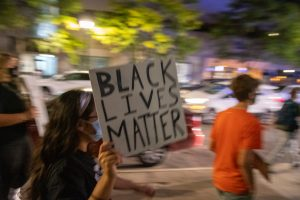 Saturday September 26, 2020. Clinton Square, Syracuse, New York. Rebirth Syracuse hosted a night of peaceful demonstration in response to a report that SPD assaulted a naked Black man who was experiencing a mental health crisis last night. They also seek to remind Syracuse Mayor Ben Walsh of their demands to defund the police.