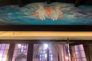 A mural inside The Potter's House Christian Community Church in Niagara Falls. The church has opened its doors for almost 100 years to people in need, church pastor Stephan Booze said.