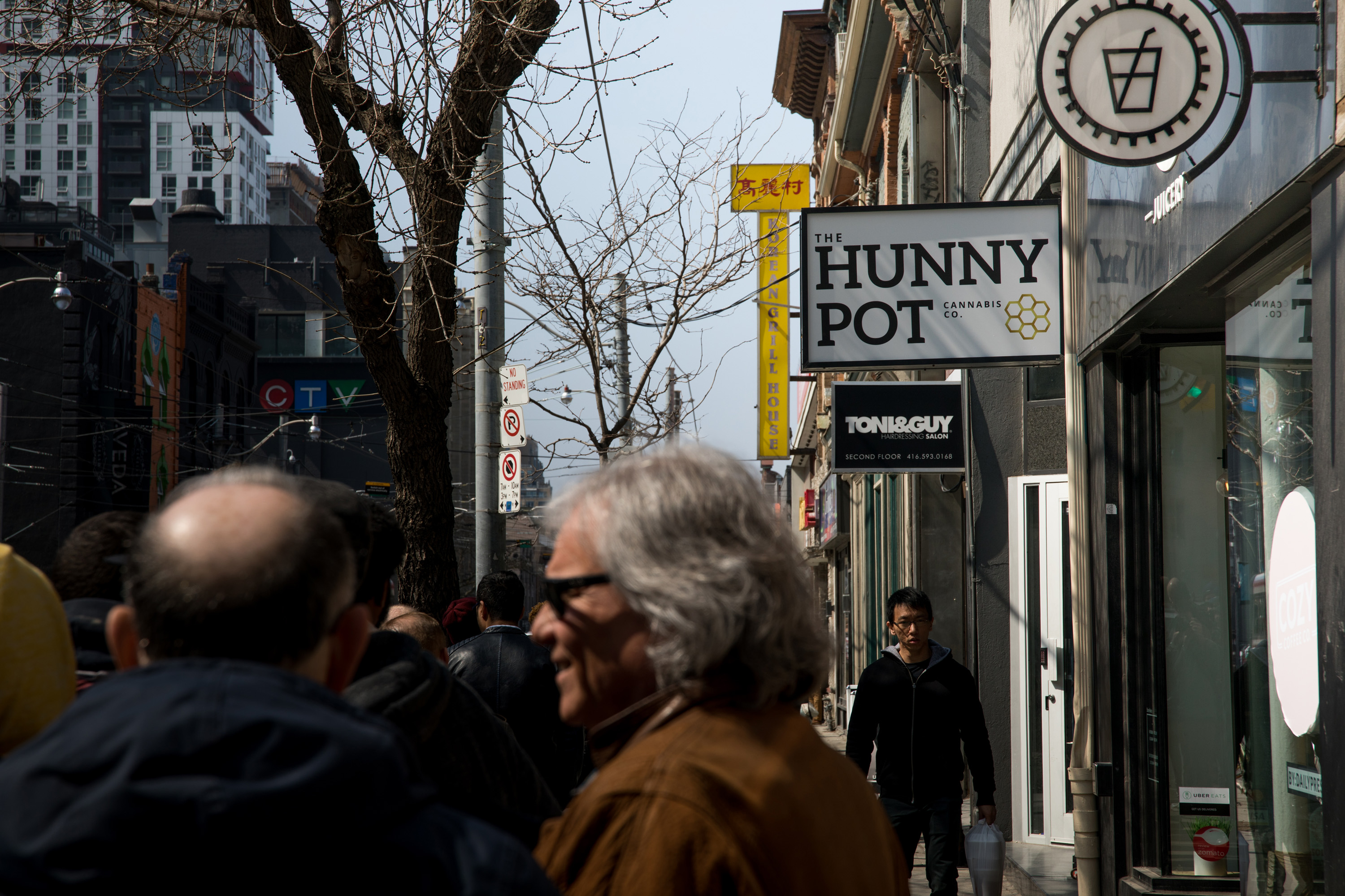 The Hunny Pot is in the center of Toronto. People from all over the city were in line to go to the store.