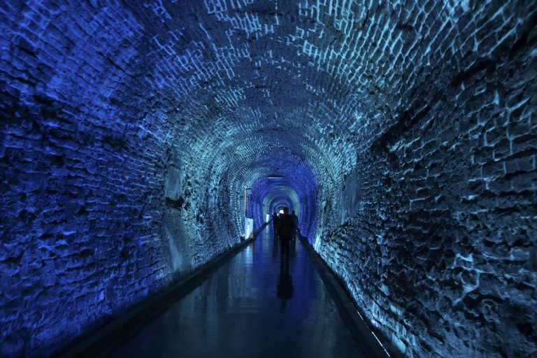 The Brockville Railway Tunnel in Canada features a light show set to Canadian music.
