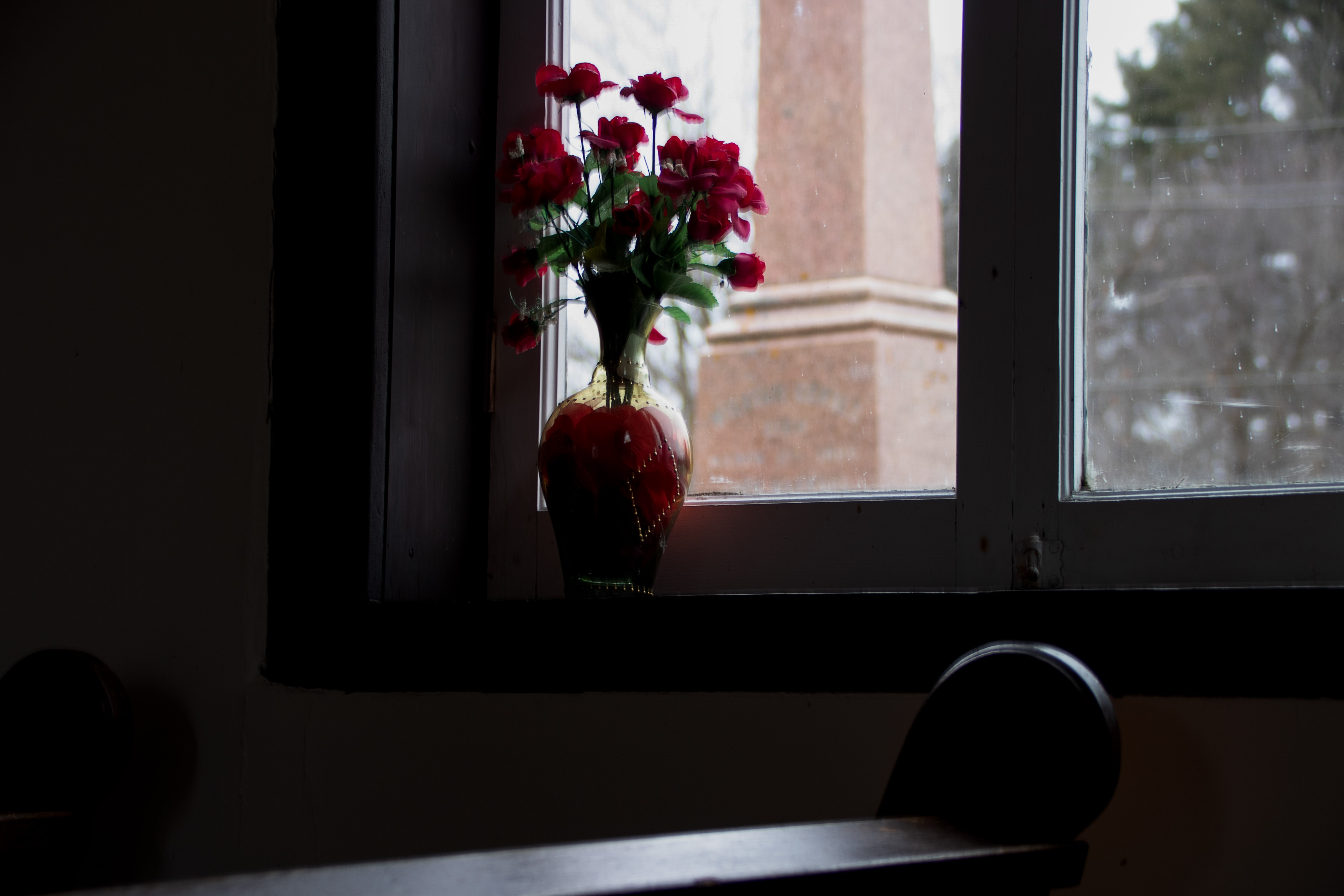 Flowers on a window sill at The Blue Church in Prescott, Ontario