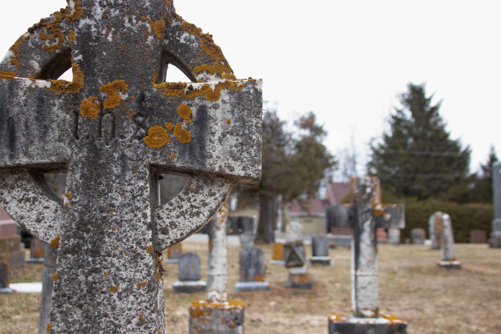 Gravestones at the cemetery for The Blue Church in Prescott, Ontario