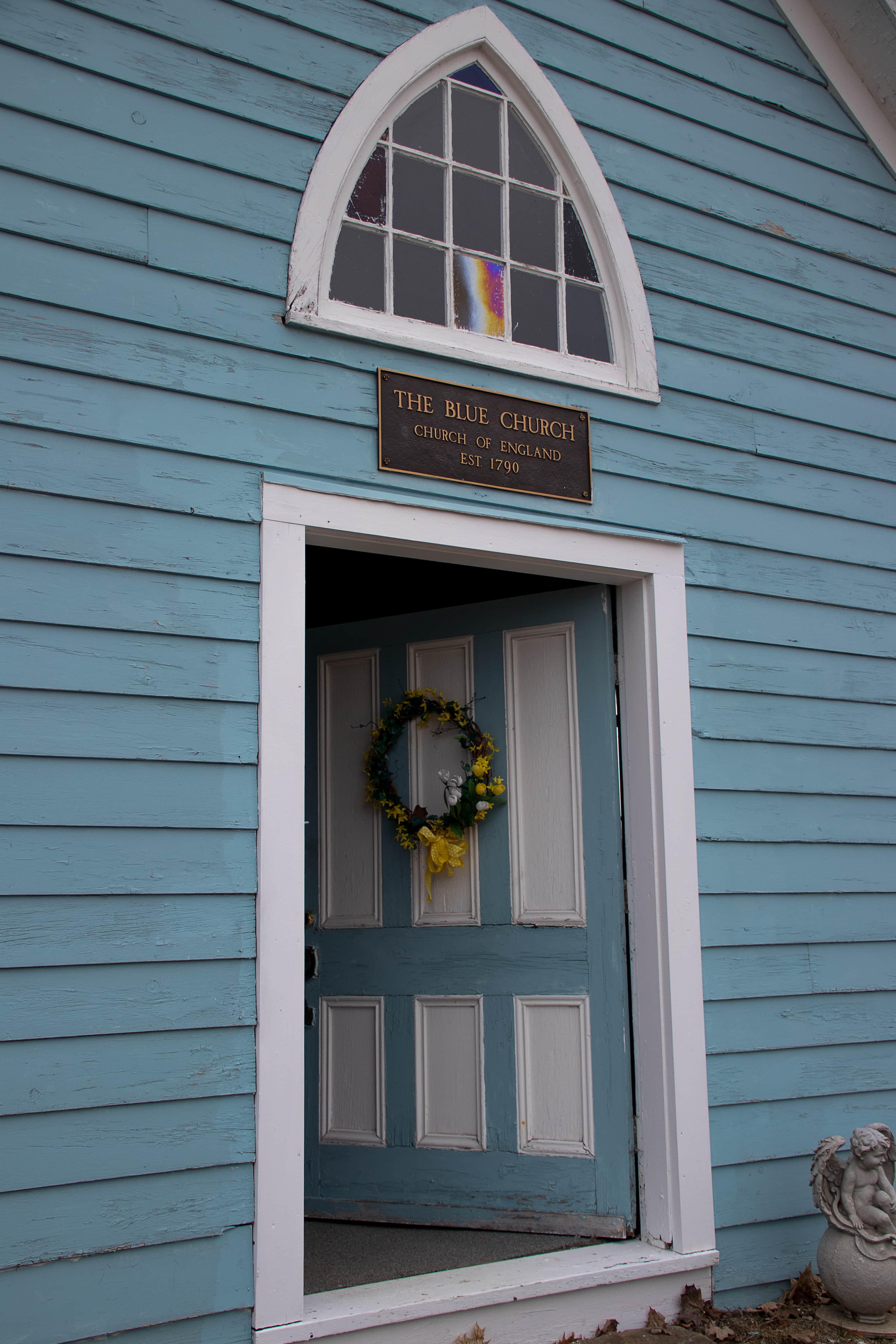 Entrances to The Blue Church in Prescott, Ontario