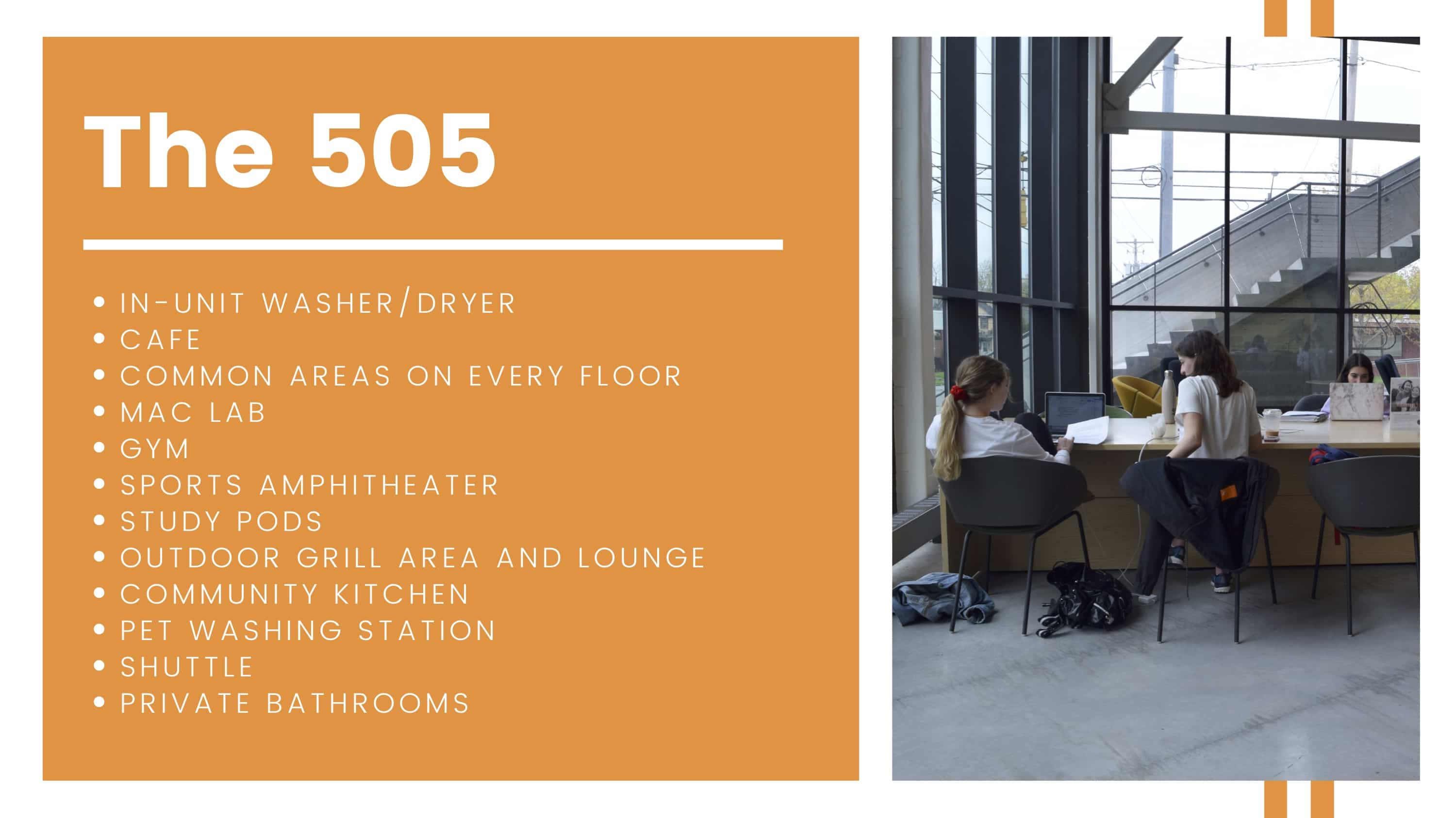 The 505 amenities breakdown