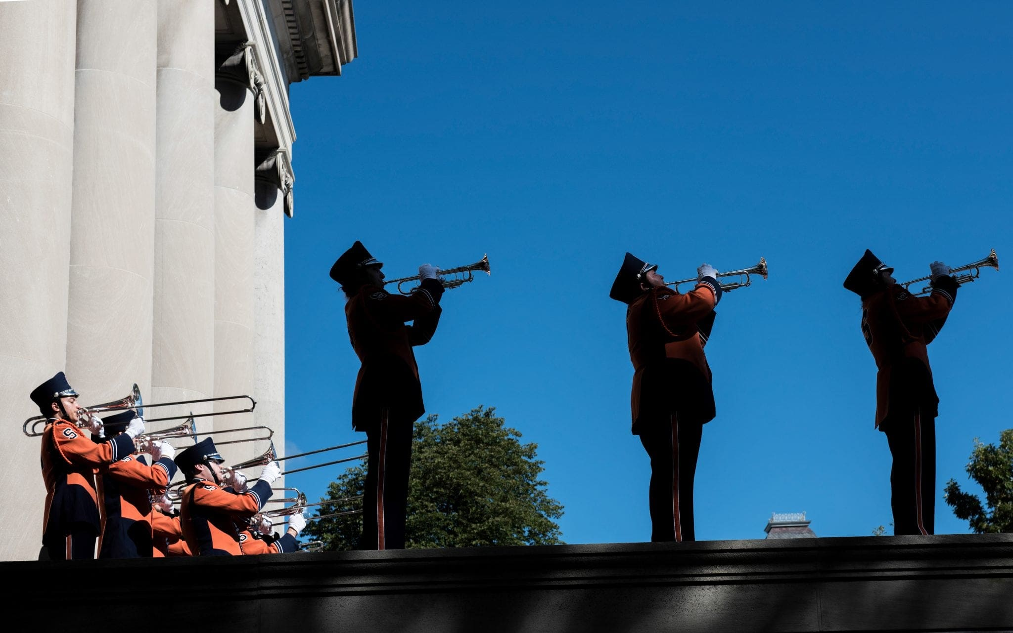 The Syracuse University Marching Band closes out the quad party prior to the SU-Florida State football game on Sept. 15.