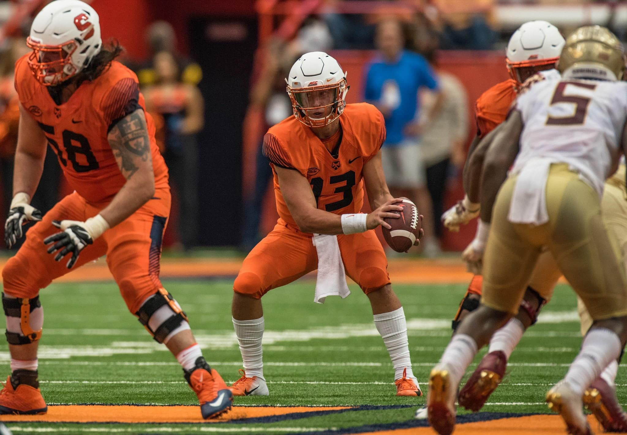 Redshirt freshman QB Tommy DeVito replaced starting quarterback Eric Dungey who left the game near the end of the first half.