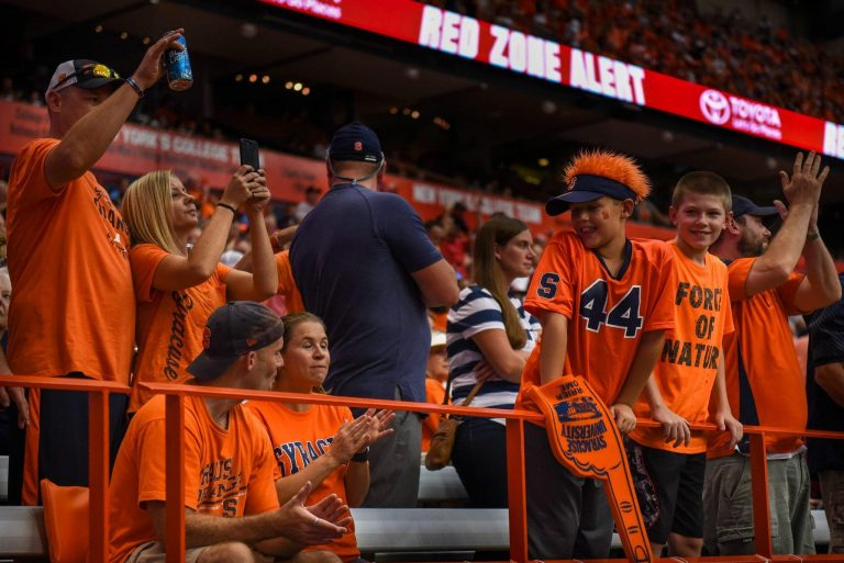 Football fans cheer on the Orange against Florida State on Sept. 15, 2018
