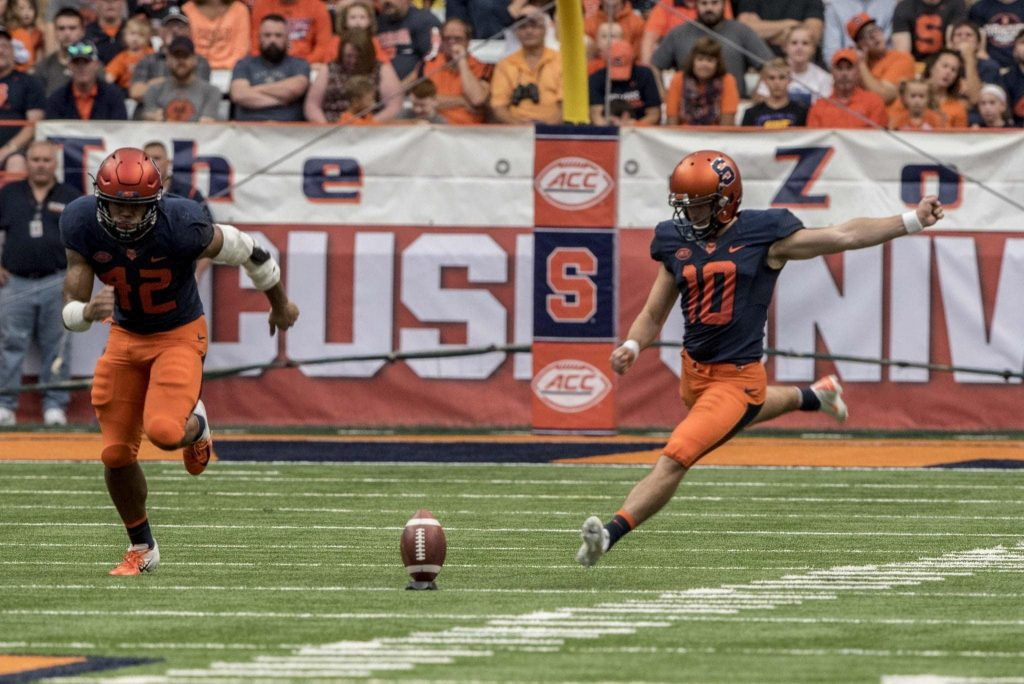 Syracuse University kicker Sterling Hofrichter kicks off to Wagner College during the Sept. 8th game. Syracuse defeated Wagner 62-10.