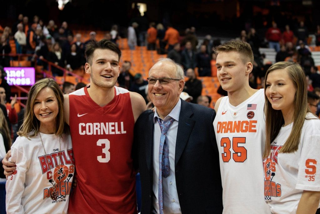 The Boeheim family are reunited on the court at the carrier dome.