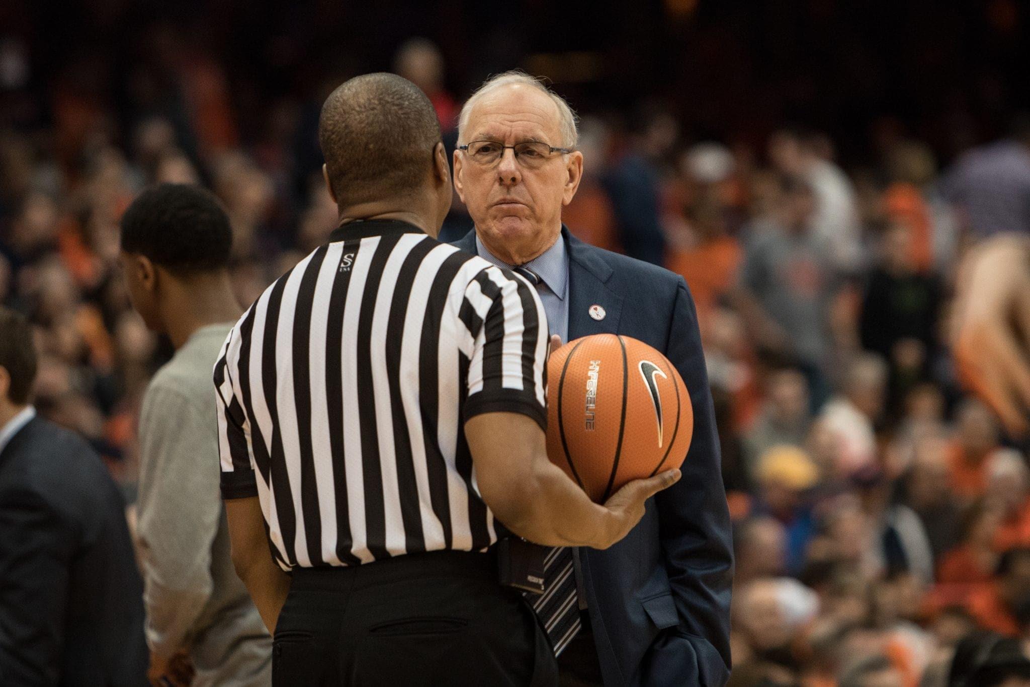 Coach Jim Boeheim and referee