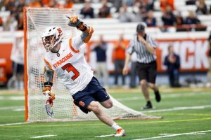 Syracuse's Nate Solomon celebrates in an April 3, 2018 game against Hobart.