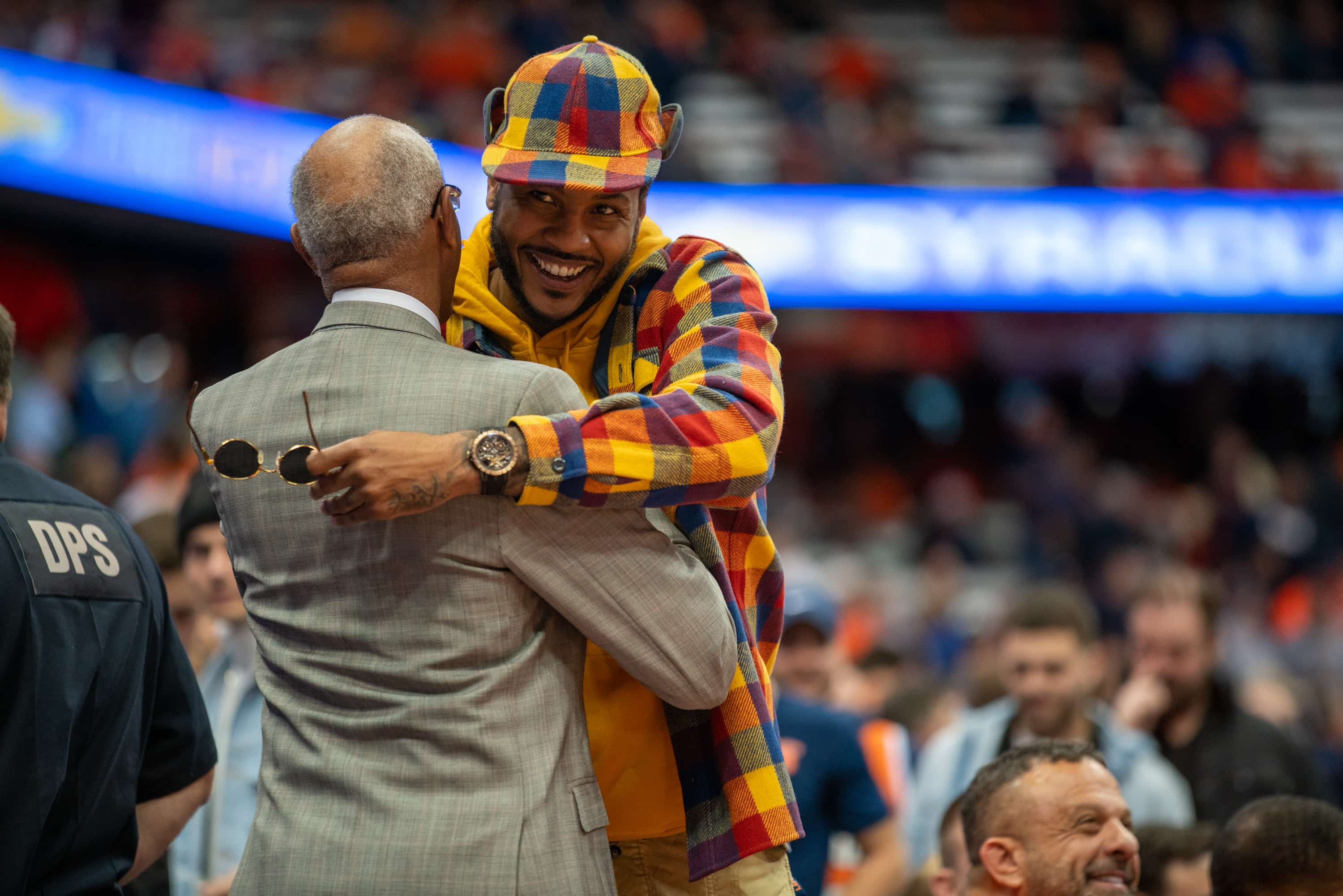 Former SU basketball great Carmelo Anthony attends the UVA vs Syracuse game at the Carrier Dome on Nov. 6