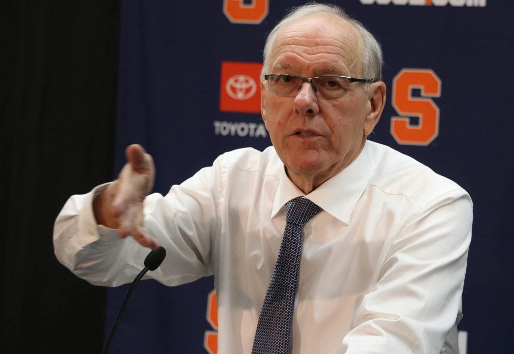 Syracuse University's varsity men's basketball coach Jim Boeheim speaks to reporters in a press conference after the game against Colgate on Nov. 13, 2019. Syracuse beat Colgate with a score of 70 to 54.