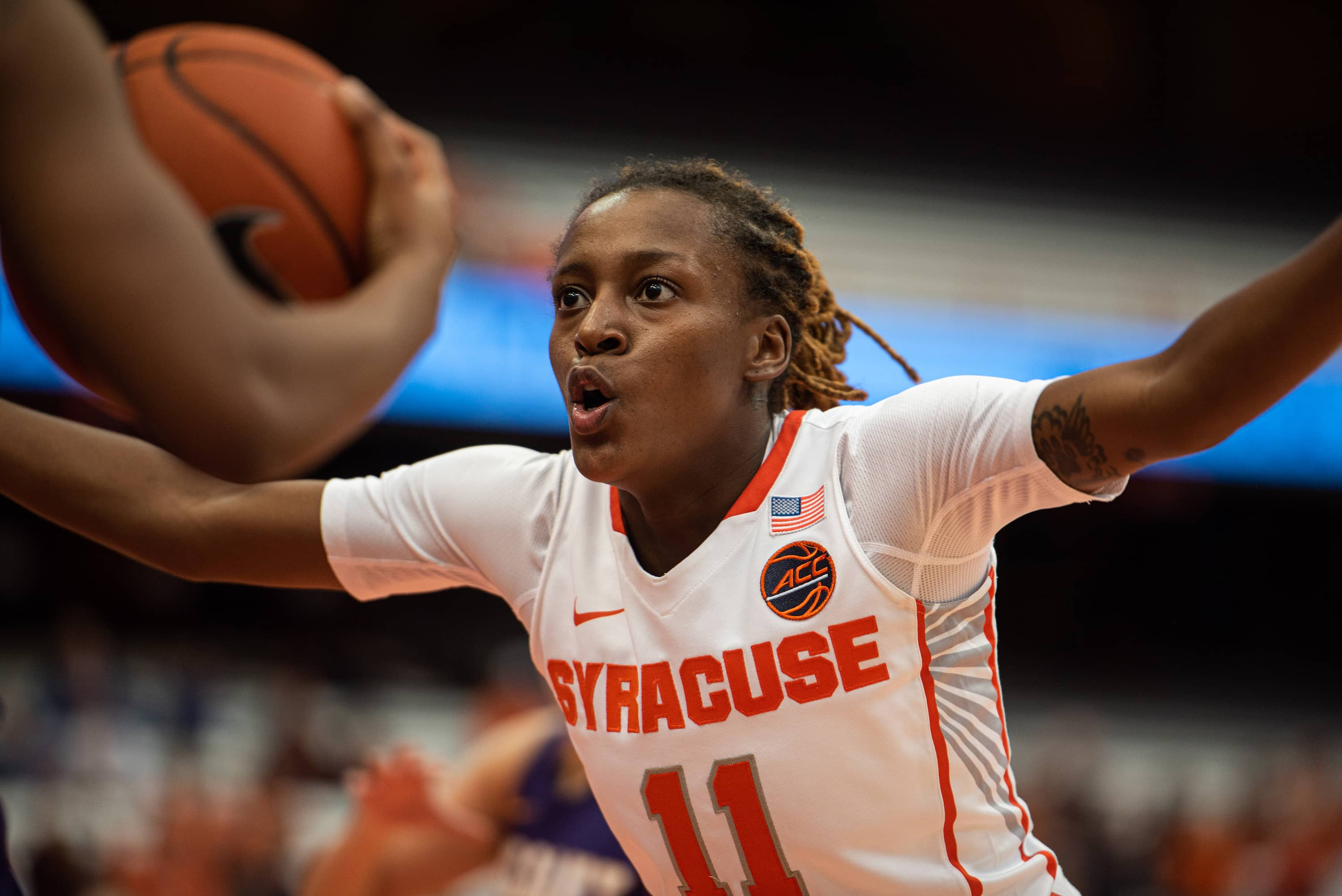 Syracuse guard Gabrielle Cooper plays defense against Albany.