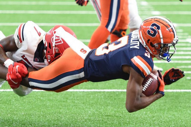 Syracuse Orange wide receiver Taj Harris (3) is tackled after a reception in the first half during a game against Liberty on Saturday, Oct. 17, 2020, at the Carrier Dome in Syracuse, N.Y.