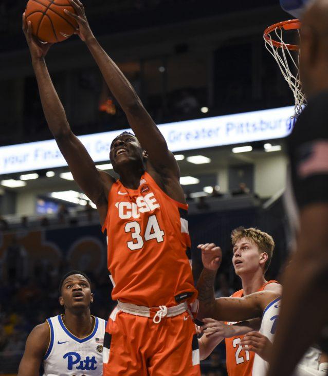 Bourama Sidibe soars for one of his 10 rebounds vs. Pitt on Wednesday, Feb. 26, 2020.