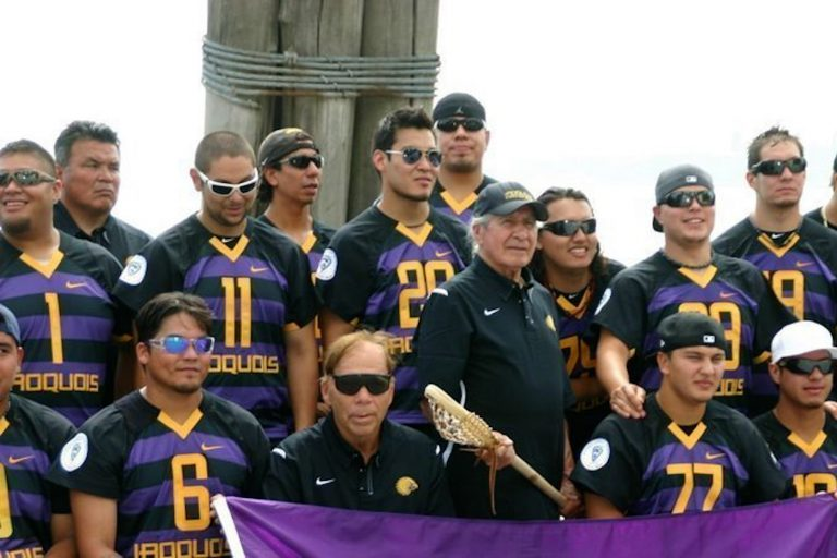 Players on Iroquois Nationals lacrosse team