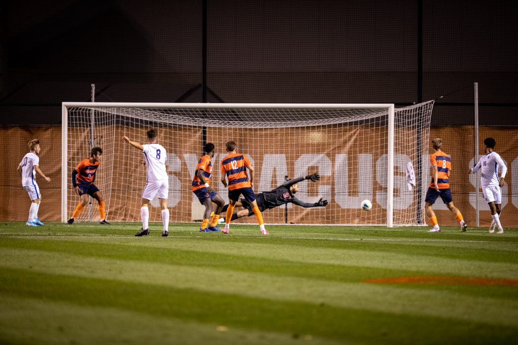Syracuse men's soccer goalie Christian Miesch was beaten three times, but also made five saves in the Oct. 6, 2020, home game vs. Pittsburgh. SU lost 3-2 in double overtime.