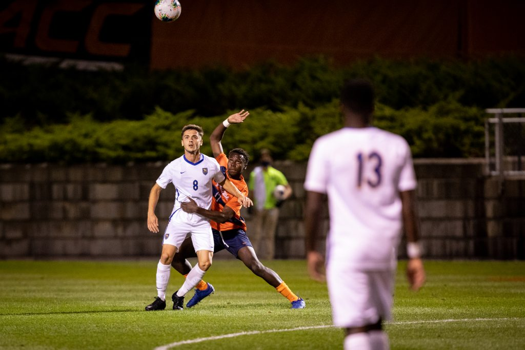 Abdi Salim started and played the full 104 minutes in SU men's soccer's backline in the Oct. 6, 2020, home game vs. Pittsburgh. SU lost 3-2 in double overtime.