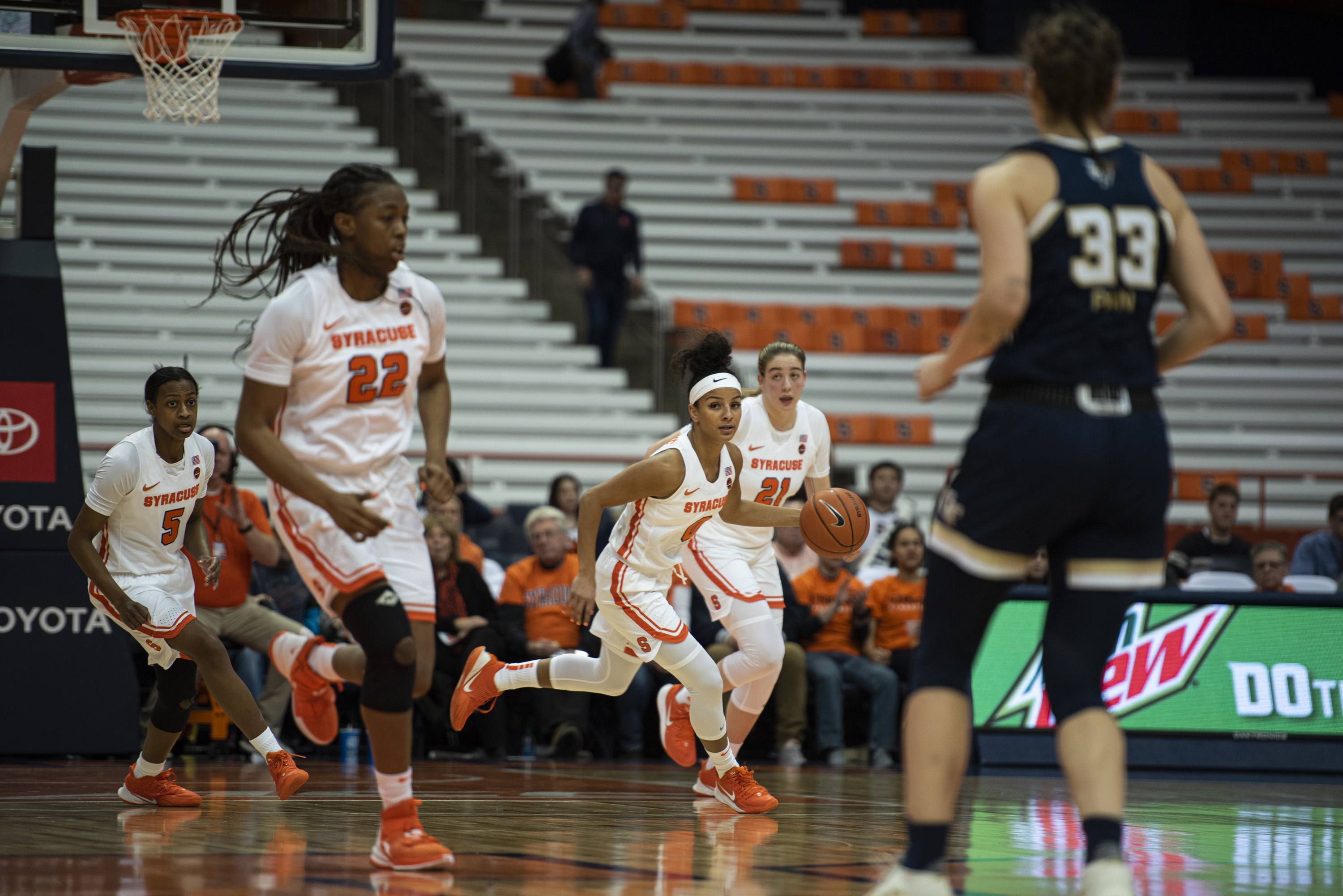 Syracuse guard Elemy Colomé dribbles up court during Thursday's home game against Georgia Tech.