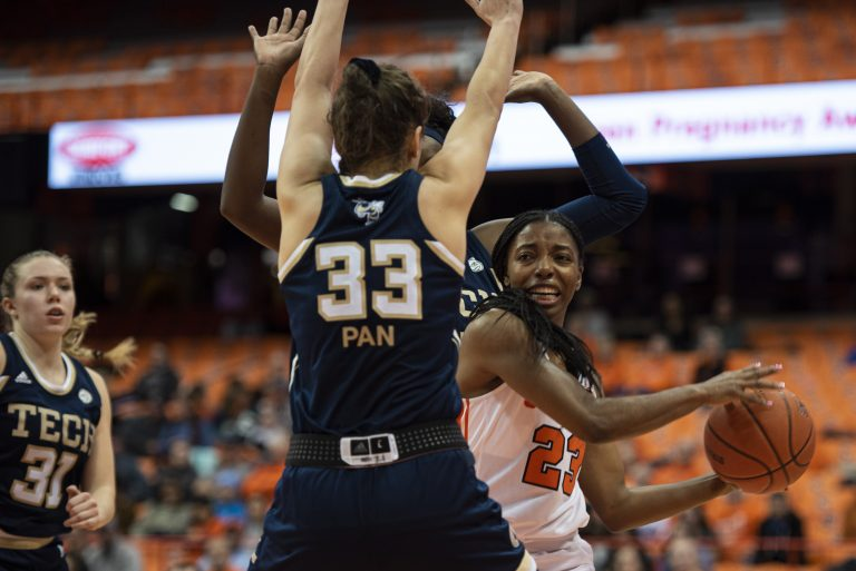 Syracuse guard Kiara Lewis looks for an open teammate during Thursday's home game against Georgia Tech.