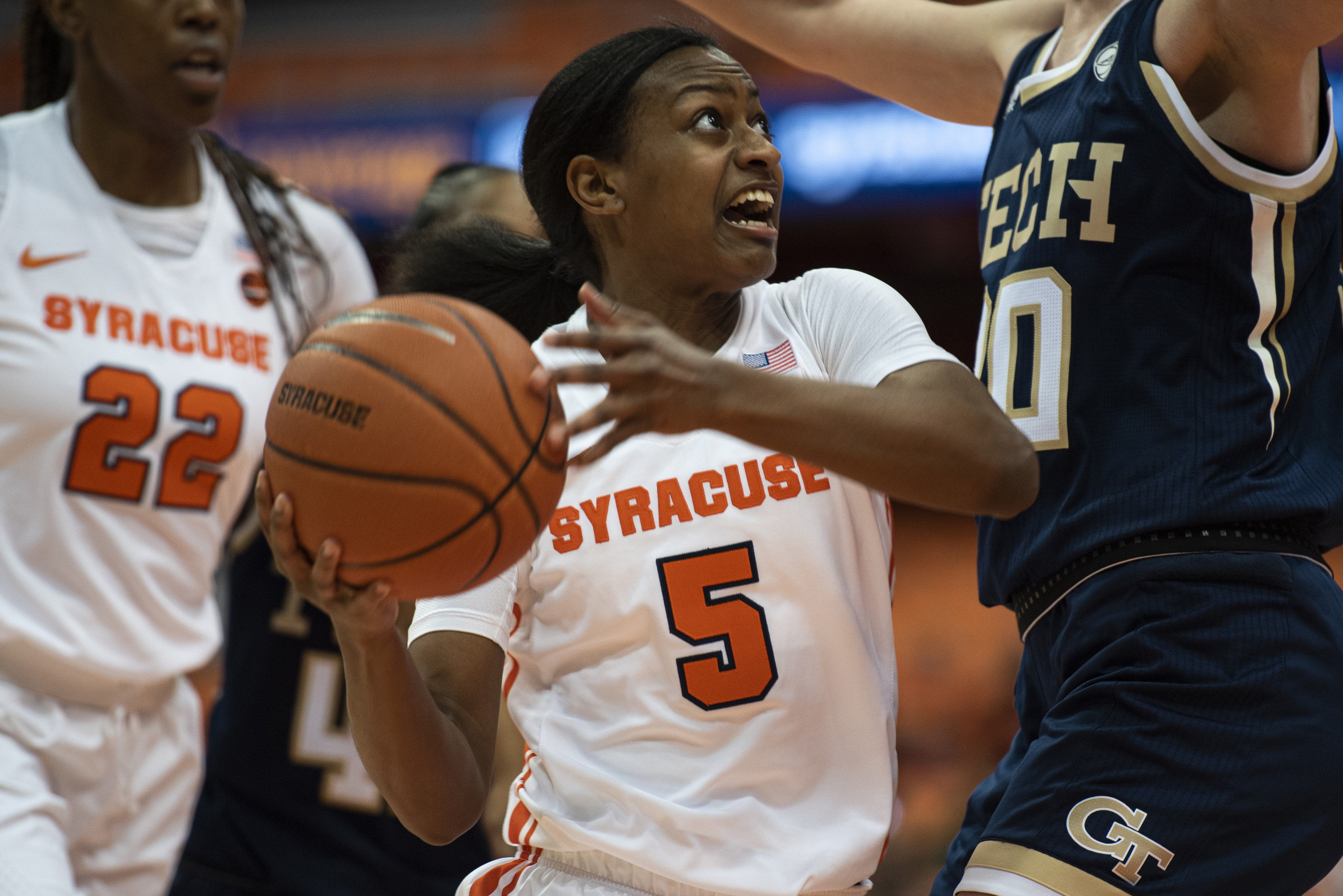 Syracuse guard Teisha Hyman goes up for a layup during Thursday's home game against Georgia Tech.