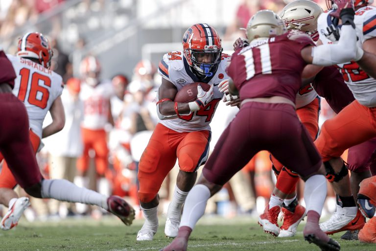 TALLAHASSEE, FL - OCTOBER 2: During the game with the Florida State Seminoles playing against the Syracuse Orange at Doak Campbell Stadium on Bobby Bowden Field on October 2, 2021 in Tallahassee, Florida. The Seminoles defeated the Orange 33 to 30. (Photo by Don Juan Moore/Character Lines)