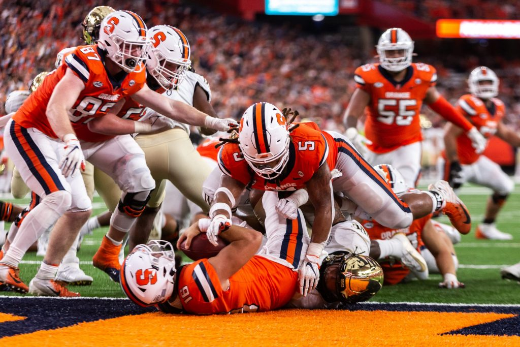 Football Game Syracuse University vs Wake Forest, October 9, 2021. Garrett Shrader scoring a touchdown.