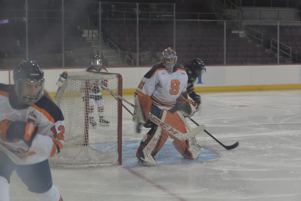 Goaltender Allison Small (31) follows the puck during a game against Lindenwood in the CHA Tournament on Mar. 4, 2021.
