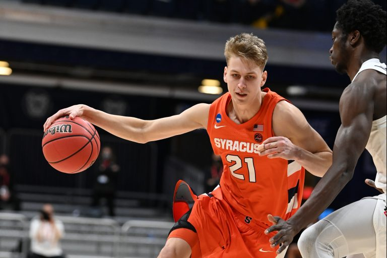INDIANAPOLIS, IN - MARCH 19: The Syracuse Orange takes on the San Diego State Aztecs in the first round of the 2021 NCAA Division I MenÕs Basketball Tournament held at Hinkle Fieldhouse on March 19, 2021 in Indianapolis, Indiana. (Photo by Brett Wilhelm/NCAA Photos via Getty Images)
