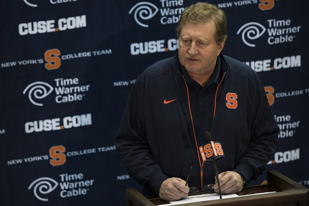 Syracuse University men's lacrosse head coach John Desko speaks during the 2016 Media Day January 11, 2016, at Manley Field House. (photo by Russ Scalf)