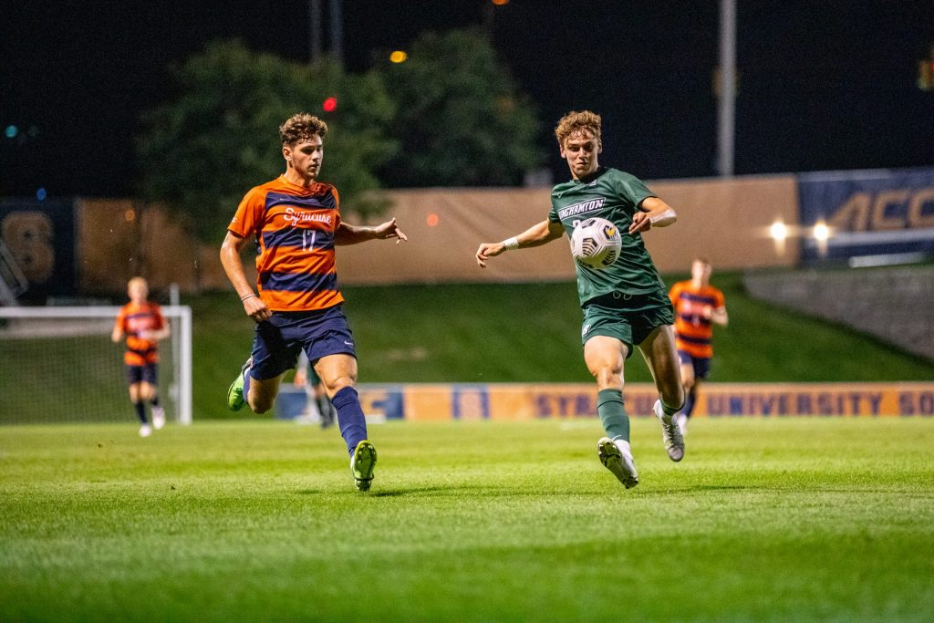 Syracuse's Luke Biasi races after a ball in their 7-0 win over Binghamton on September 14th, 2021.
