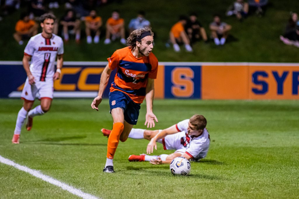Syracuse's Christian Curti (2) looks to take advantage of open space in the midfield.