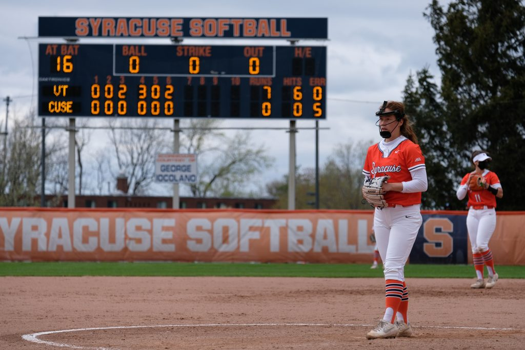 The Syracuse University softball team lost to No. 20 Virginia Tech 8-0 at the Skytop Softball Stadium in Syracuse, New York, Friday, Apr. 30, 2021.