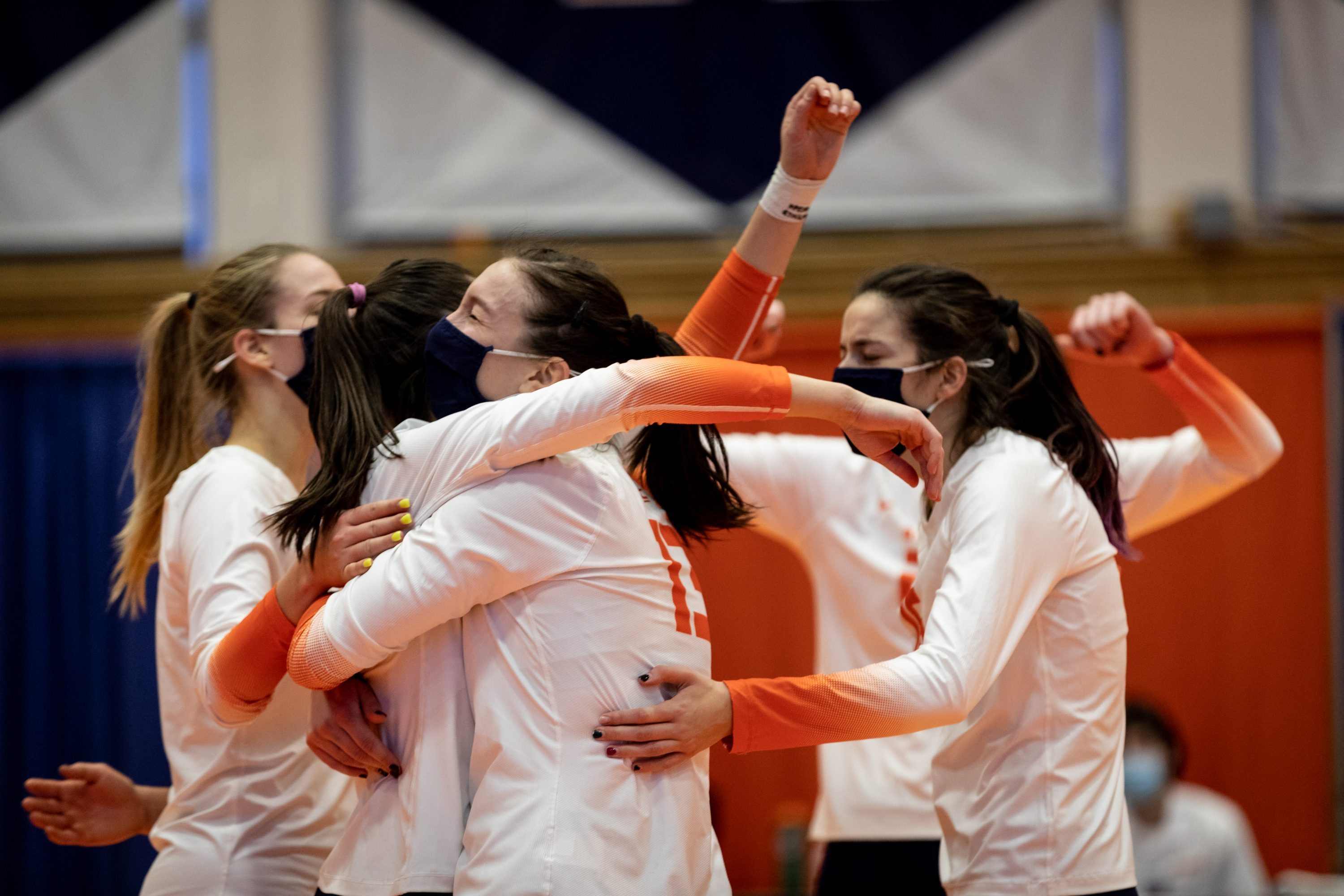 SU's Yuliia Yastrub (13) embraces her teammates during the March 5, 2021 game against UNC in the Women's Building in Syracuse, NY.