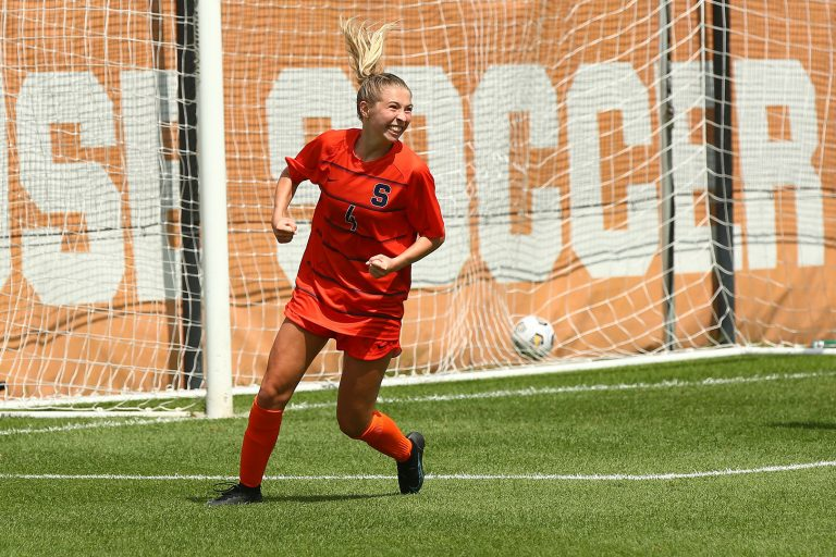 Syracuse Women's Soccer freshman Ashley Rauch celebrates after scoring a goal in the second half versus Fairleigh Dickinson on August 22, 2021.