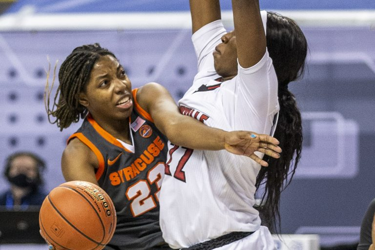 Syracuse's Kiara Lewis puts up a shot during an NCAA college basketball game with Syracuse in the Atlantic Coast Conference tournament at the Greensboro Coliseum in Greensboro, N.C., on Saturday, March 6, 2021.