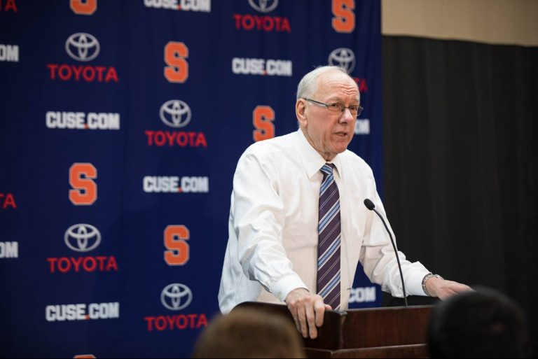SU Basketball head coach Jim Boeheim at the post-game press conference following Syracuse's win over Texas Southern on Nov. 18, 2017.