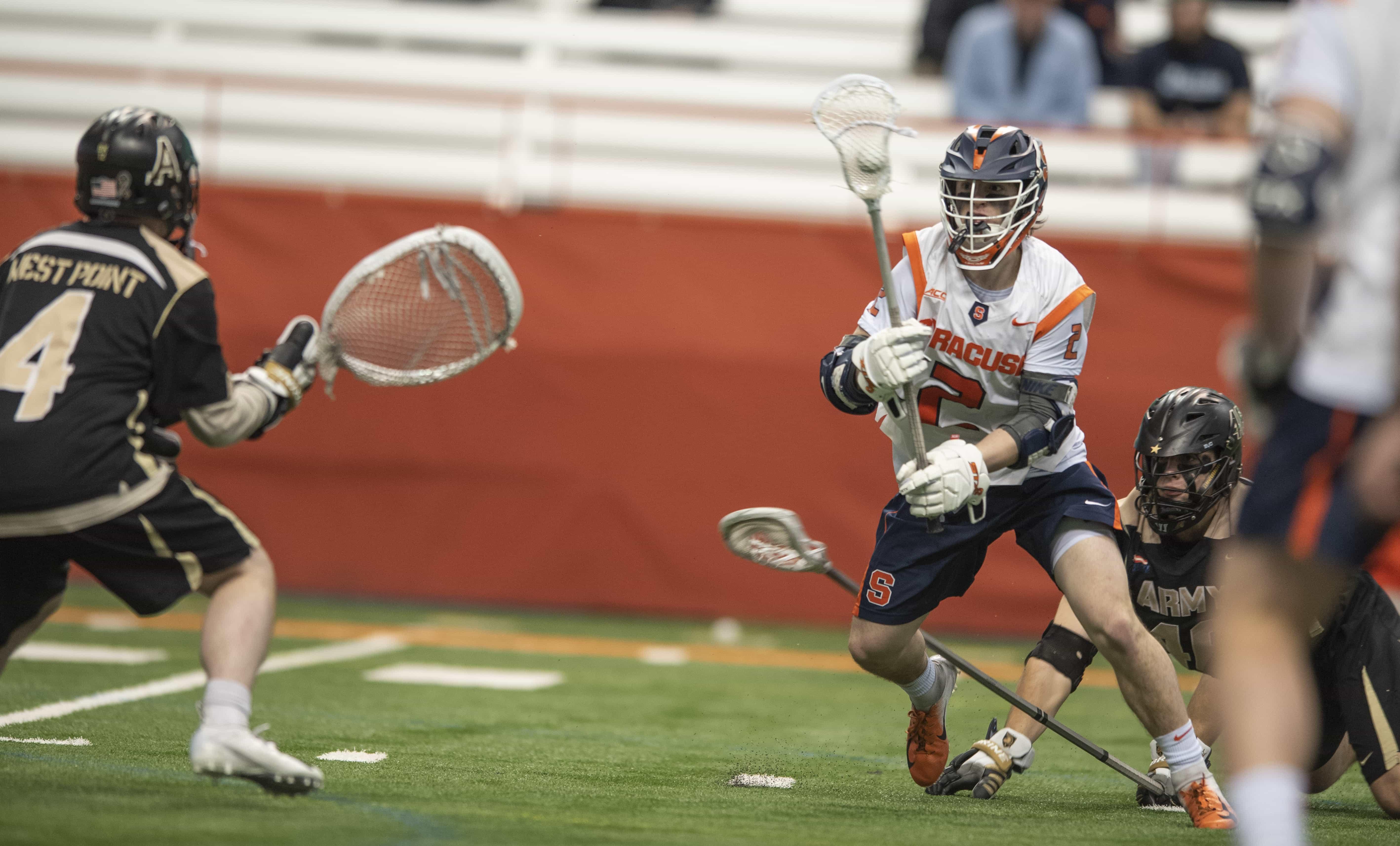 Freshman Griffin Cook maneuvers around defenders.