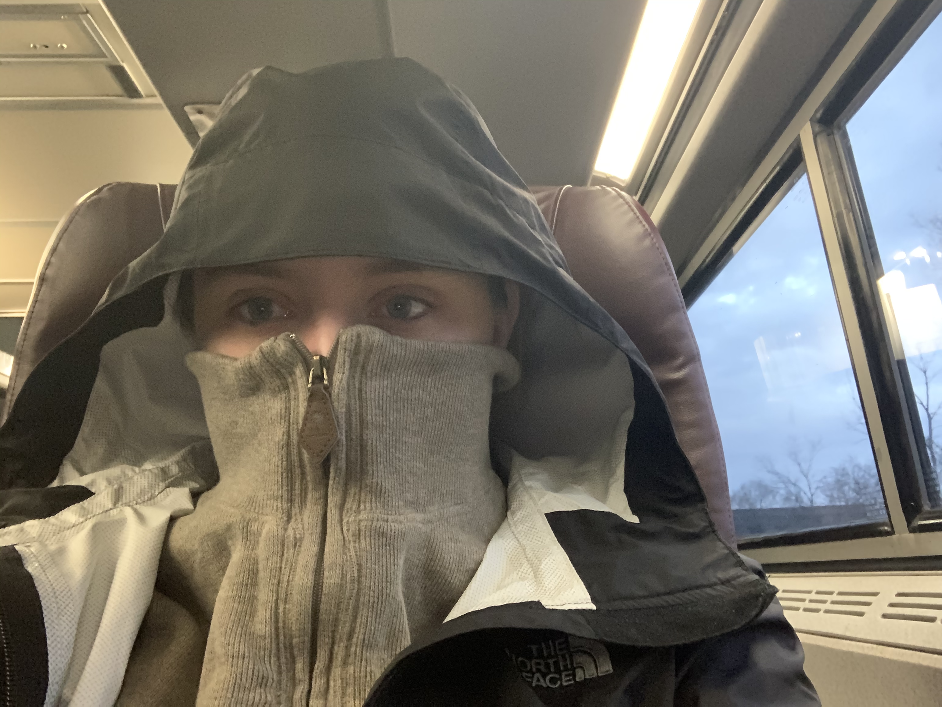 Allison Ingrum on Amtrak train from Syracuse to New York City with jacket zipped over face