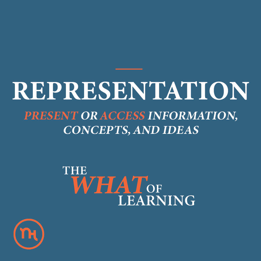 Representation; PRESENT OR ACCESS INFORMATION, CONCEPTS, AND IDEAS; The what of learning
