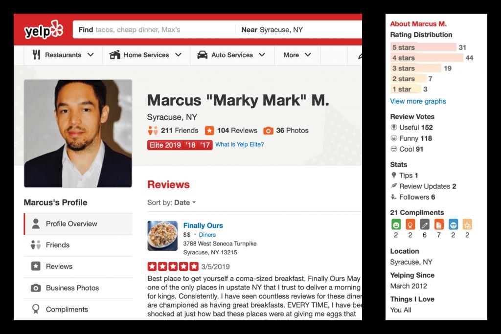 Marcus' Yelp profile