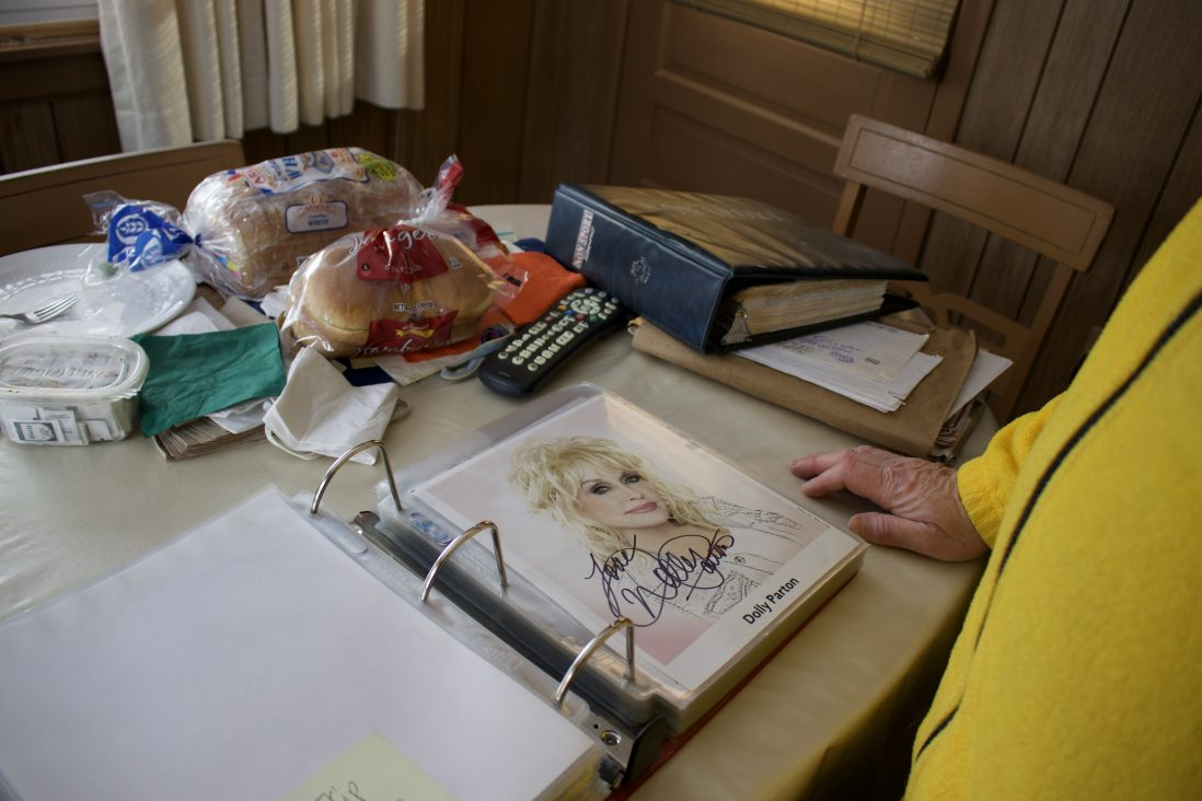 Block's autograph collection includes a signature from Dolly Parton.