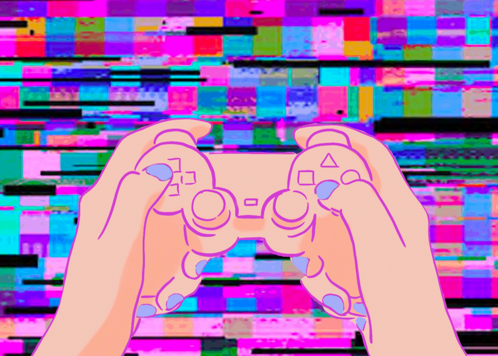 Illustration: Girl holding game controller.