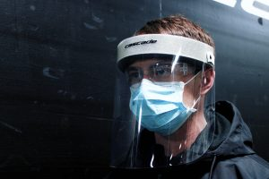 A face shield produced by Cascade Lacrosse of Liverpool, New York, to help healthcare workers treating coronavirus patients